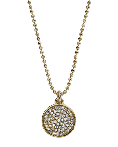 Pave Disc Necklace, Golden