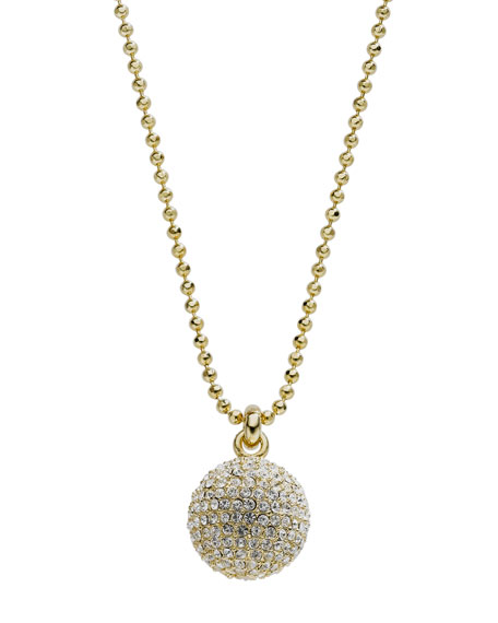 Pave Fireball Necklace, Golden