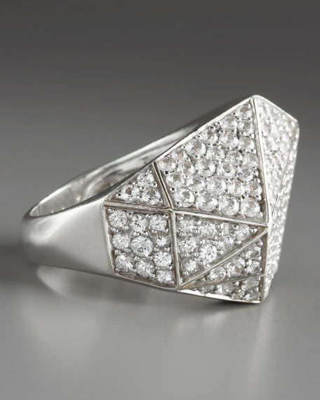 Pave Sapphire Geometric Ring, White