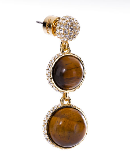 Tiger's Eye Ball Drop Pave Huggie Earring
