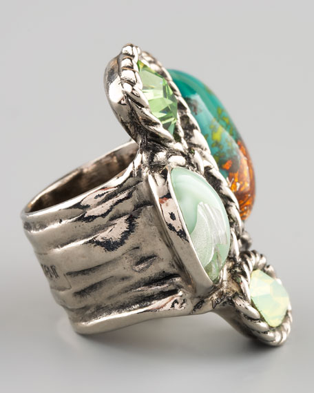 Four-Stone Arty Ring, Green