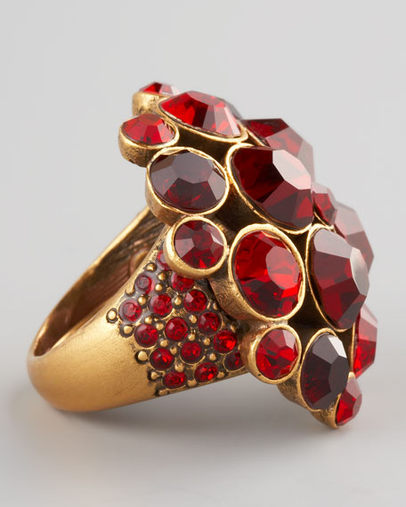 Crystal Cluster Ring, Red