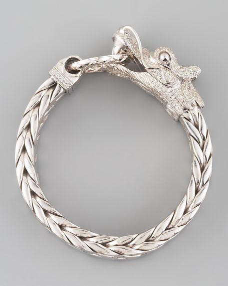 Naga Dragon Head Bracelet, White Sapphire