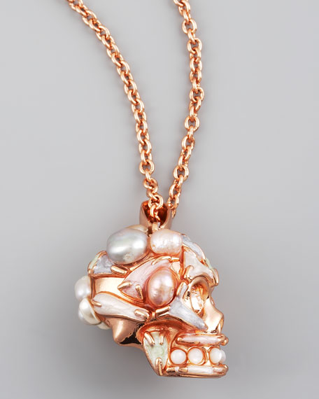 Pearl Skull Pendant Necklace