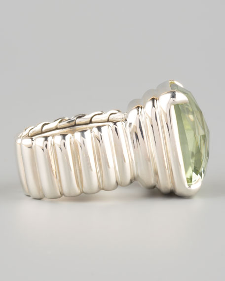 Princess-Cut Ring, Green Amethyst