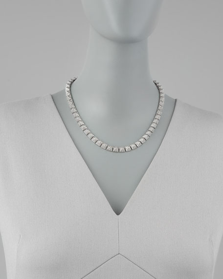 Pave Pyramid Choker Necklace, Silver