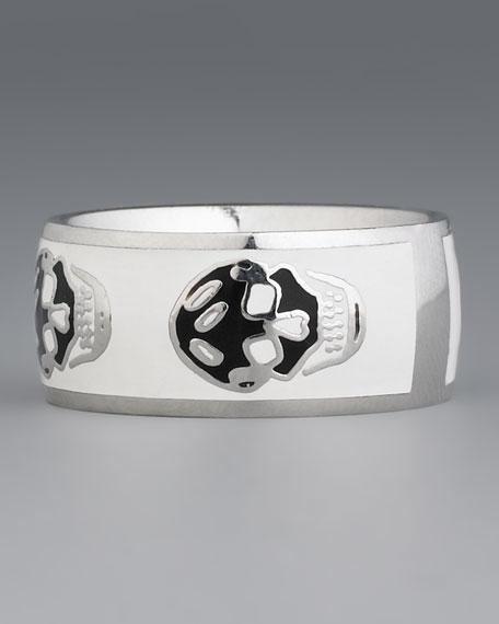 Skull Enamel Ring, Black/White