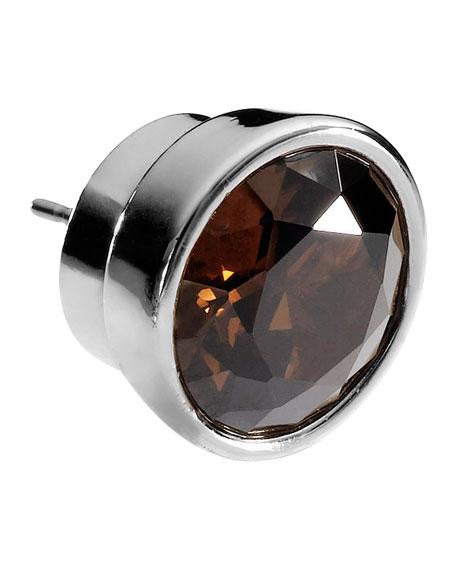 Large Silver-Color Stud Earrings, Smoky Quartz Color