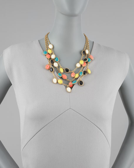 multicolor charm triple-strand necklace