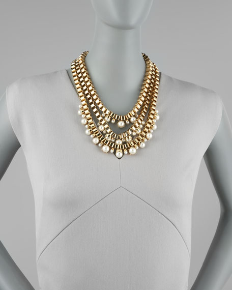 faux-pearl multi-strand chain necklace
