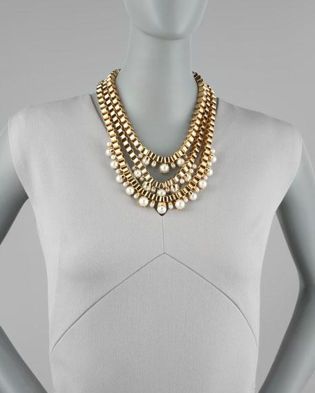 faux-pearl multi-strand chain necklace