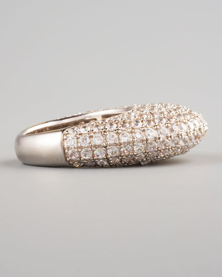 Pave Crystal Dome Ring, Silvertone