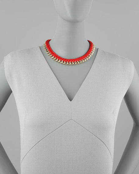 Braided Chain Necklace, Red