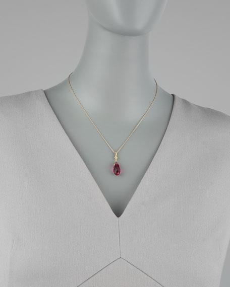 Briolette Pendant Necklace, Fuchsia