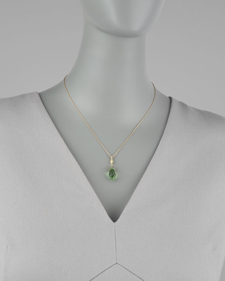 Briolette Pendant Necklace, Green