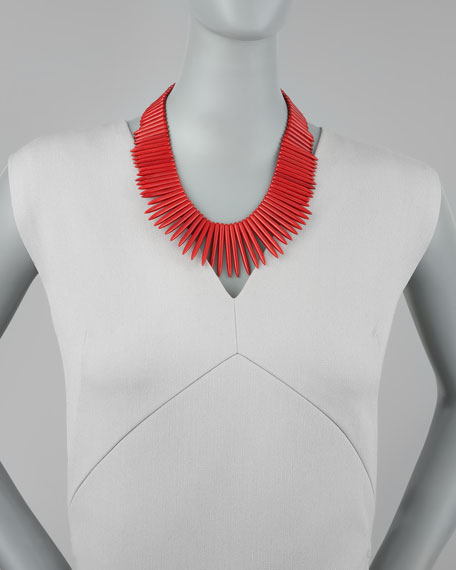 Red Resin Spike Necklace