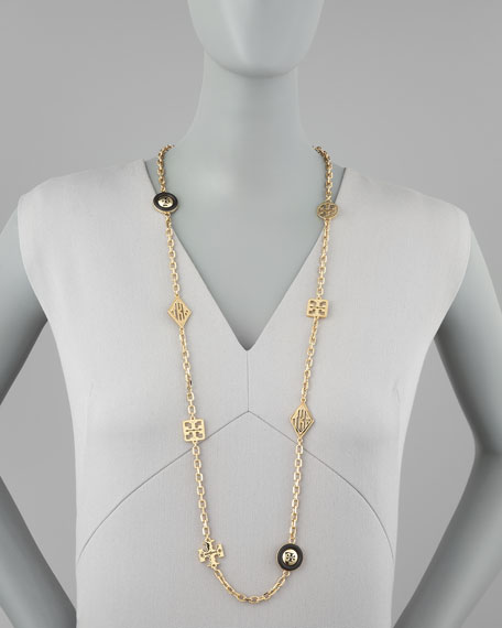 """Mixed Logo-Charm Rosary Necklace, 39""""L"""