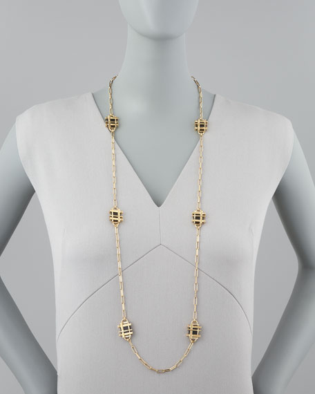 Gold-Plated Gingham Necklace