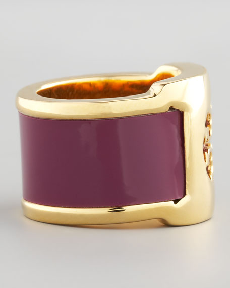 Patent Leather Band Ring, Fuchsia