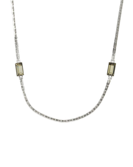 Chain and Crystal Necklace, Silver Color