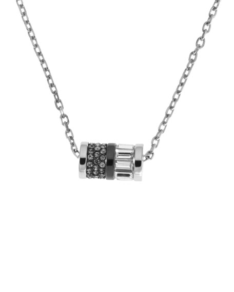 Barrel Pendant Necklace, Silver Color