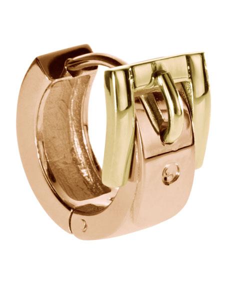 Buckle Huggie Earrings, Golden