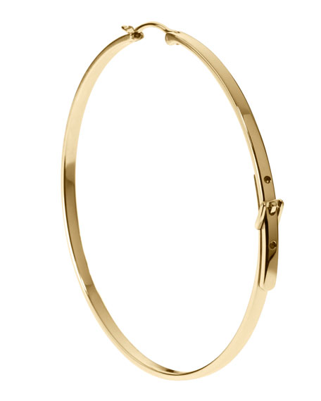 Large Buckle Hoop Earrings, Golden