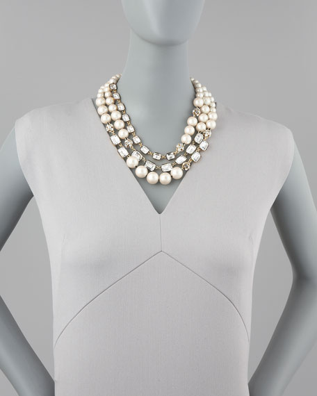party pearl bead triple-strand necklace