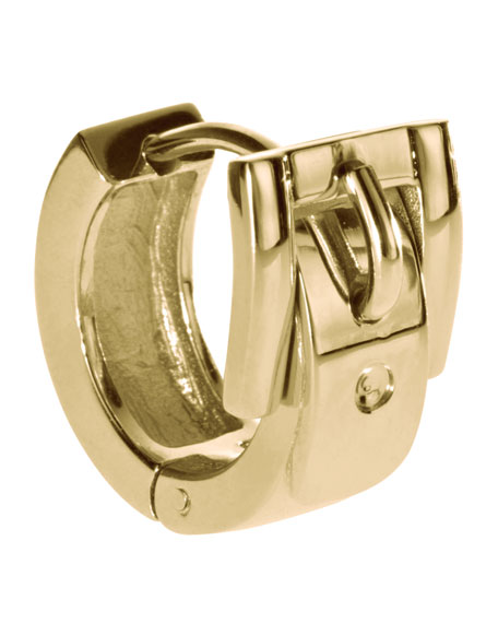 Buckle Huggie Earrings, Golden
