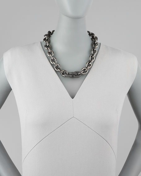 Pave-Link Cable Chain Necklace, Gunmetal