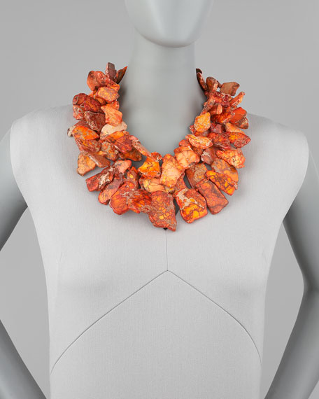 Chunky Jasper Necklace, Orange