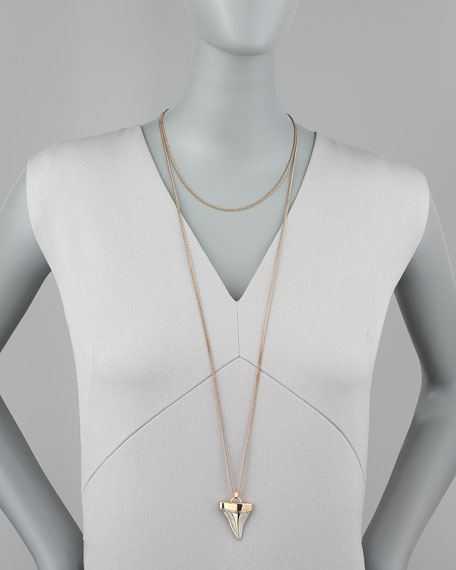 Rose Golden Doubled Shark Tooth Necklace