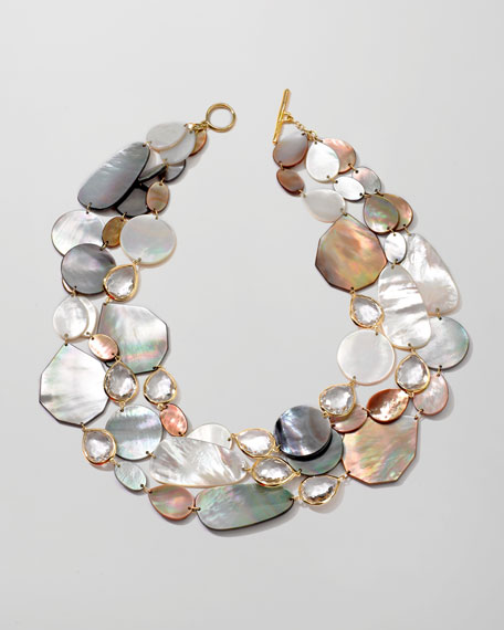 Ondine Triple-Strand Pearl/Quartz Necklace