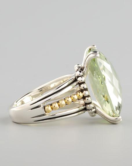 Silver Illumine Ring, Green Amethyst