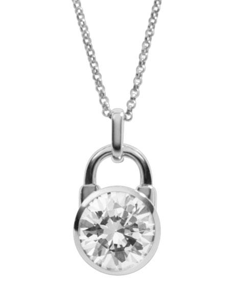 Padlock Pendant Necklace, Silver Color
