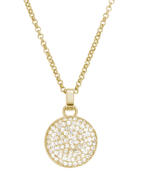 Pave Concave Pendant Necklace, Golden
