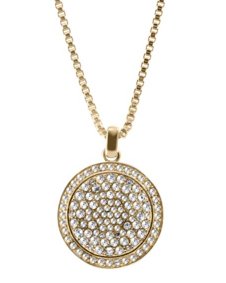 Large Pave Concave Pendant Necklace, Golden