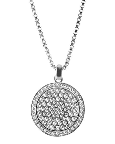 Large Pave Concave Pendant Necklace, Silver Color