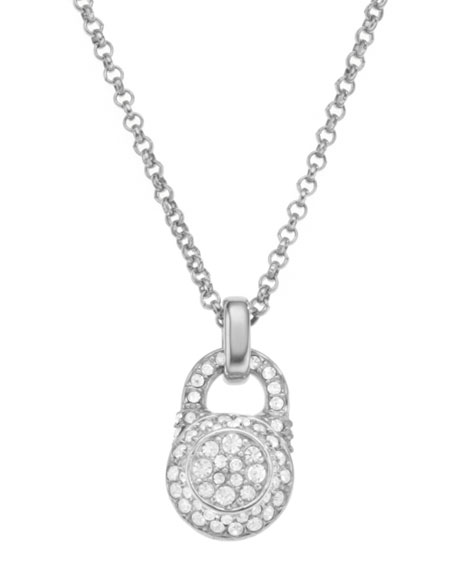 Small Pave Padlock Pendant Necklace, Silver Color