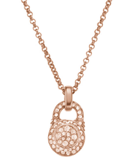 Small Pave Padlock Pendant Necklace, Rose Golden