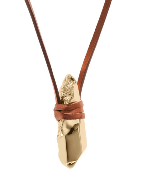 Leather Nugget Pendant Necklace, Golden