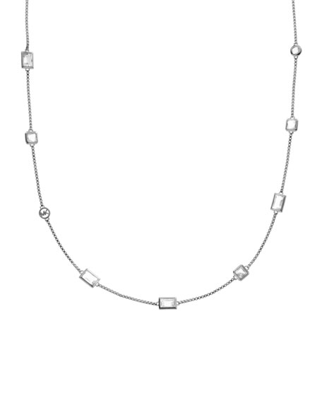 Double-Wrap Crystal Necklace, Silver Color
