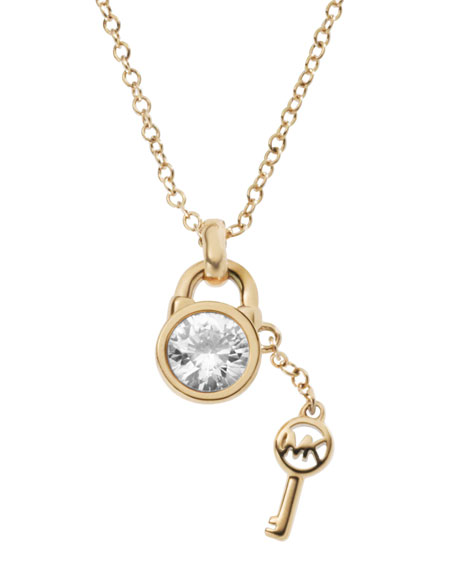 Padlock & Key Charm Necklace, Golden