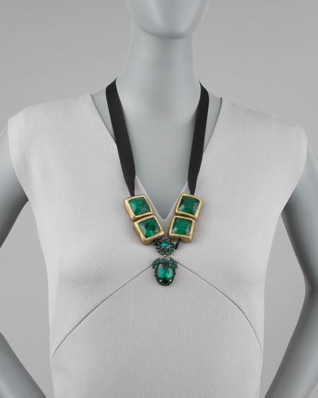 Crystal-Drop Ribbon Necklace