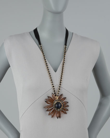 Long Flower Pendant Necklace