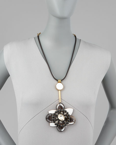 Flower Pendant Leather Necklace