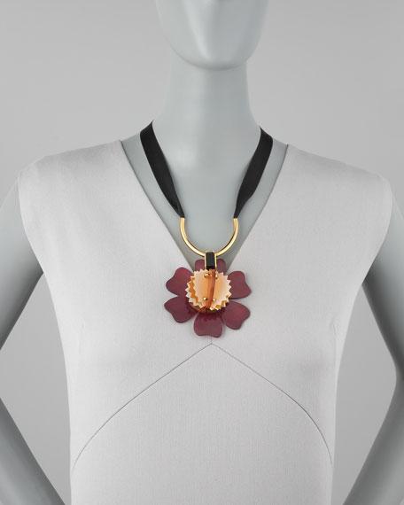 Horn Pendant Necklace, Burgundy