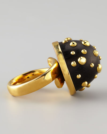 On a Roll Studded Ebony Dome Ring