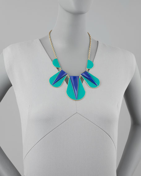Colorblock Bib Necklace, Green/Blue