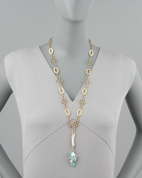 Pearl & Chalcedony Drop Necklace